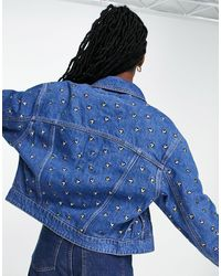 Pimkie Denim Jacket With Heart Embroidery - Blue