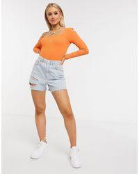 NA-KD Боди Оранжевого Цвета С Длинными Рукавами -оранжевый Цвет