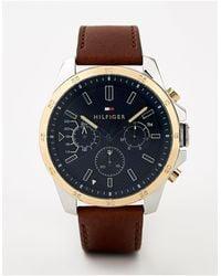 Tommy Hilfiger Decker - Leren Horloge 48 M - Bruin