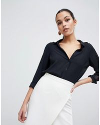 Lipsy - Lace Insert Sleeve Shirt - Lyst