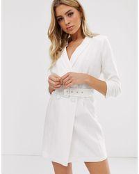 River Island Linen Tux Dress With Belt - White