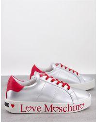 Love Moschino Серебристые/красные Кроссовки На Плоской Платформе -серебристый - Красный