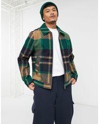 ASOS Camicia giacca Harrington verde a quadri con zip