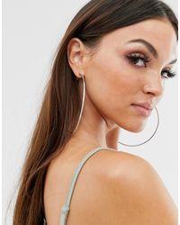 ASOS - 100mm Hoop Earrings With Engraved Rope Detail In Silver Tone - Lyst