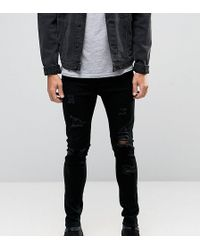 Liquor N Poker - Skinny Extreme Rips Jeans In Washed Black - Lyst