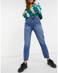 Noisy May Isabel Rigid Ankle Mom Jeans - Blue