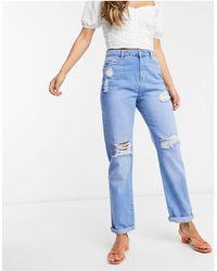 Urban Bliss Jeans boyfriend strappati lavaggio medio - Blu