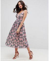 ASOS - Asos Lace Cami Midi Prom Dress - Lyst