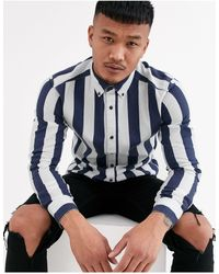 Only & Sons Slim Fit Button Down Bold Stripe Shirt - Blue
