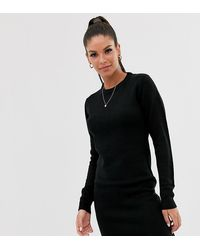 Brave Soul Tall Grungy Round Neck Jumper Dress - Black