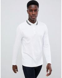 ASOS Long Sleeve Pique Polo Shirt With Tipping In White