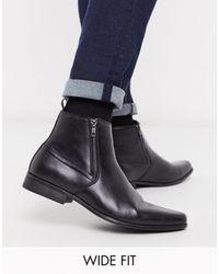 ASOS Черные Ботинки Челси Для Широкой Стопы Из Искусственной Кожи С Молниями - Черный