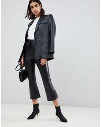 ASOS Premium Leather Kickflare Pants - Black