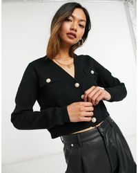 Mango Cardigan With Faux Pearl Buttons - Black