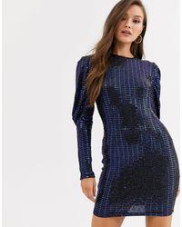 AX Paris Платье Мини С Пайетками И Длинными Рукавами -синий