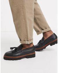 Grenson – Booker – Loafer aus genarbtem Leder - Schwarz
