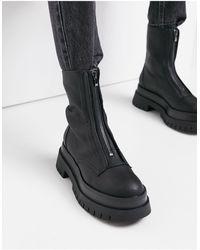 Bershka Zip Front Chelsea Boot - Black