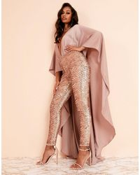 ASOS Luxe Cape Detail Jumpsuit In Rose Gold Sequin - Pink