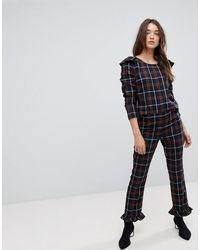Vila Check Trousers With Peplum Detail - Multicolour