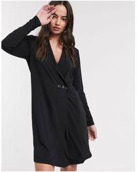 Ichi Soft Wrap Tuxedo Dress - Black