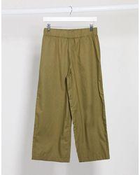 Monki Vilja Organic Cotton Wide Leg Trousers - Green