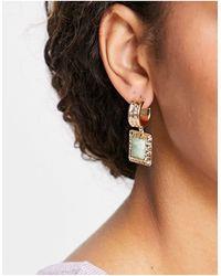 TOPSHOP Green Stone Drop Molten Hoop Earrings - Metallic