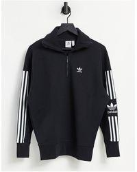 adidas Originals - Черный Свитшот С Короткой Молнией И Высоким Воротником Locked Up - Lyst