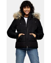 TOPSHOP Faux Fur Trim Puffer Jacket - Black