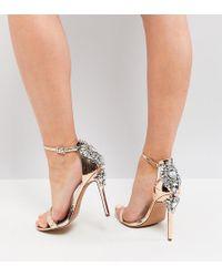 9eecce413953 ASOS - Asos High Roller Wide Fit Embellished Heeled Sandals - Lyst
