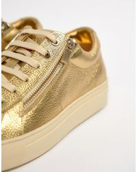 HUGO - Futurism Leather Zip Trainers In Gold - Lyst
