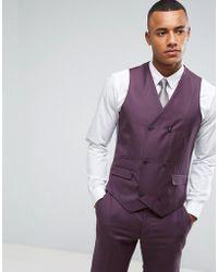 ASOS - Asos Skinny Suit Waistcoat In 100% Wool In Dusky Purple - Lyst