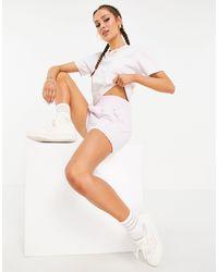adidas Originals - Перламутрово-розовые Шорты С Завышенной Талией, Логотипом И Тремя Полосками 'tennis Luxe'-розовый Цвет - Lyst