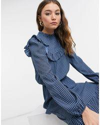 New Look Платье Миди Синего Цвета В Клетку С Ярусным Подолом -голубой - Синий
