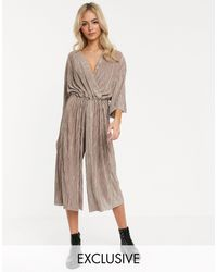 Another Reason Relaxed Wrap Front Jumpsuit With toggle Tie - Natural