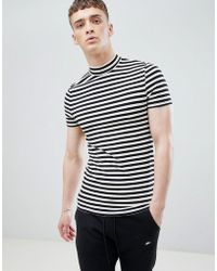 ASOS DESIGN - Muscle Stripe T-shirt With Turtle Neck - Lyst