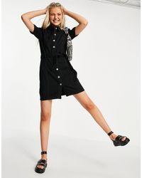 Miss Selfridge Robe chemise en denim - Noir