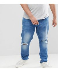 Jacamo Skinny Fit Jeans In Rip & Repair In Navy - Blue