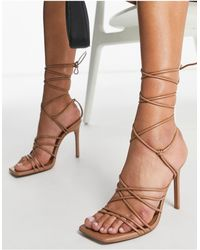 ASOS Nina Strappy Tie Leg Heeled Sandals - Natural