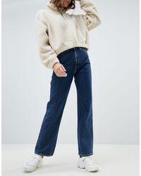Weekday Jean taille haute en coton biologique - brut - Bleu