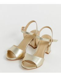 Truffle Collection Wide Fit Block Heeled Sandals - Metallic