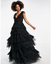 LACE & BEADS Tiered Tulle Maxi Dress - Black