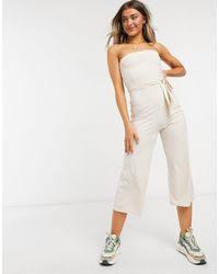Miss Selfridge - Tuta jumpsuit a fascia grigio pietra - Lyst
