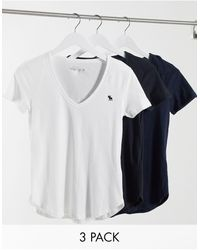 Abercrombie & Fitch V Neck 3 Multipack - Blue