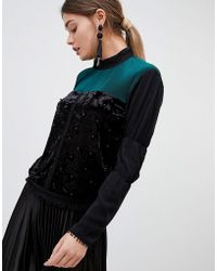 Zibi London Zibi Pleated And Pearl High Neck Blouse - Black