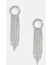 ASOS - Earrings With Crystal Open Circle And Strands In Silver - Lyst