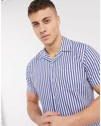 Jack & Jones Essentials Stripe Short Sleeve Shirt With Stripe - Blue