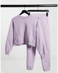 Pull&Bear – Trainingsanzug-Set mit Sweatshirt und Jogginghose - Lila