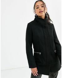 Bershka Черное Пальто На Молнии -черный
