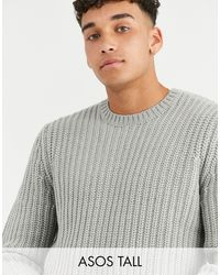 ASOS Tall Fisherman Rib Sweater - Gray
