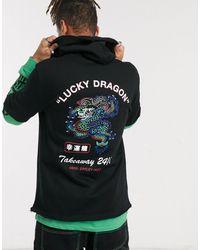 ASOS Hoodie long double épaisseur imprimé dragon - Noir